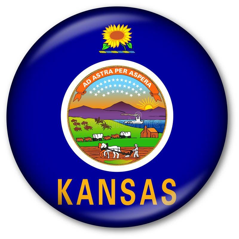 Staat Kansas-Markierungsfahnen-Taste vektor abbildung