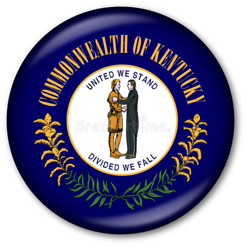 Staat Kentucky-Markierungsfahnen-Taste stock abbildung