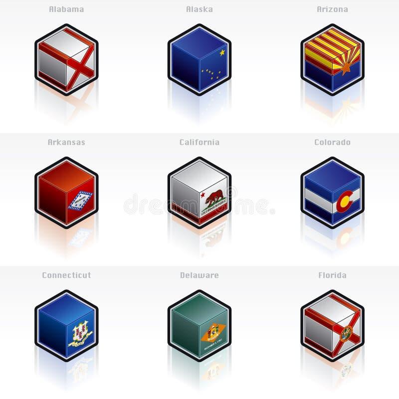 Staat-Markierungsfahnen-Ikonen stellten ein lizenzfreie abbildung