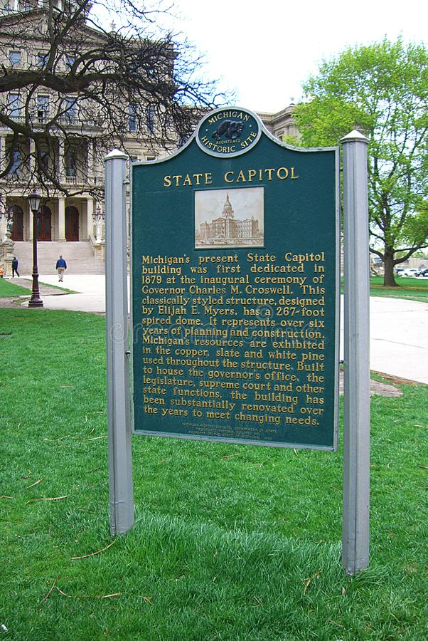 Staat Michigan-Kapitol-Gebäude-historische Markierung stockfoto