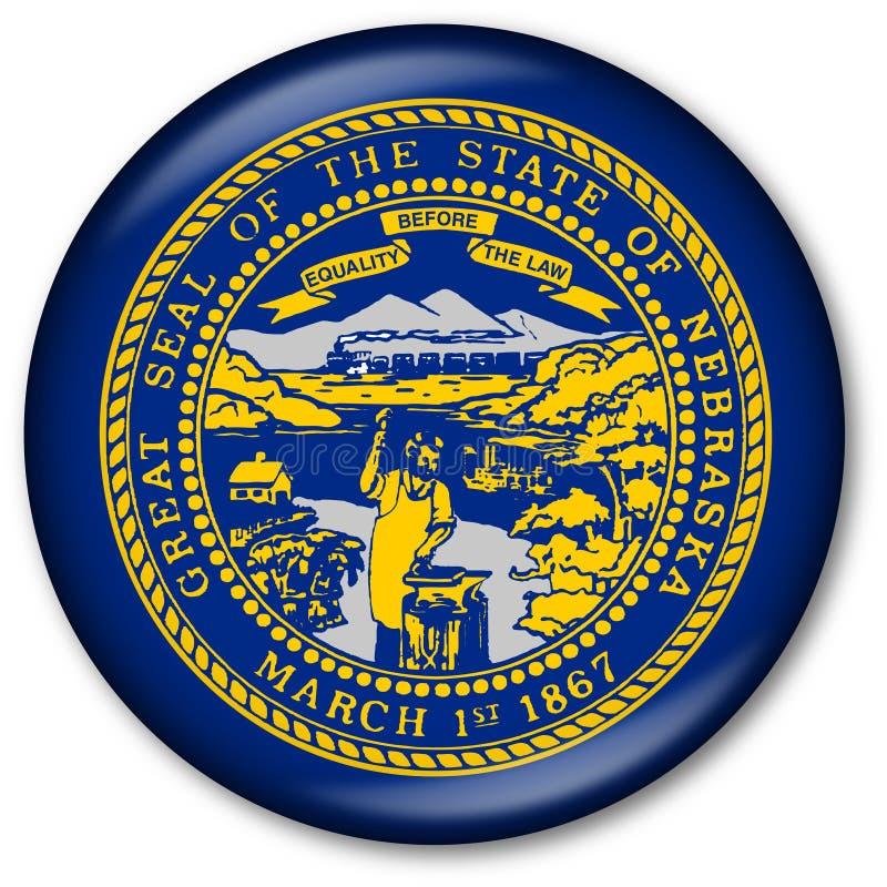 Staat Nebraska-Markierungsfahnen-Taste vektor abbildung