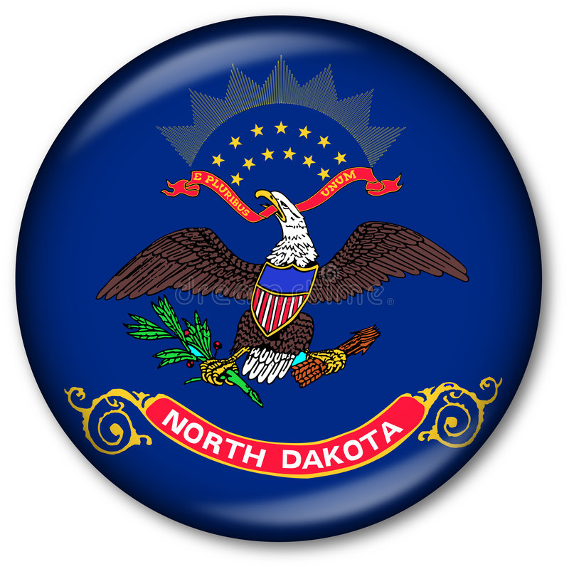 Staat North Dakota-Markierungsfahnen-Taste vektor abbildung