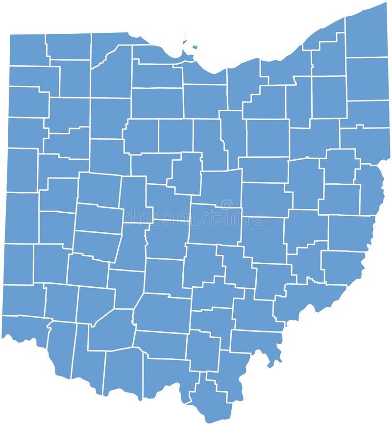 Staat Ohiokarte durch Grafschaften stock abbildung