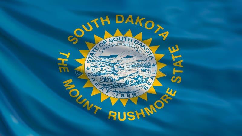 Staat South Dakota-Markierungsfahne Wellenartig bewegende Flagge von South- Dakotastaat, die Vereinigten Staaten von Amerika Abbi lizenzfreie abbildung
