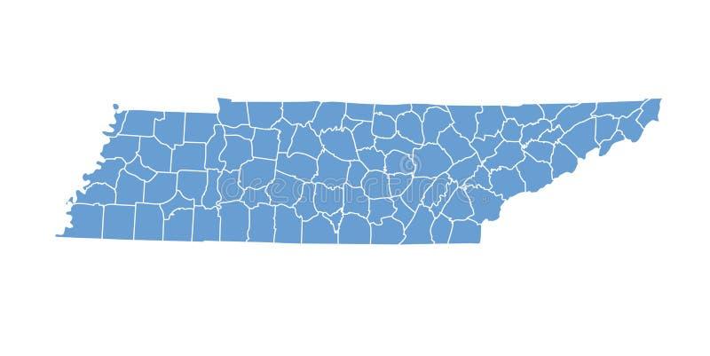 Staat Tennessee durch Grafschaften lizenzfreie abbildung