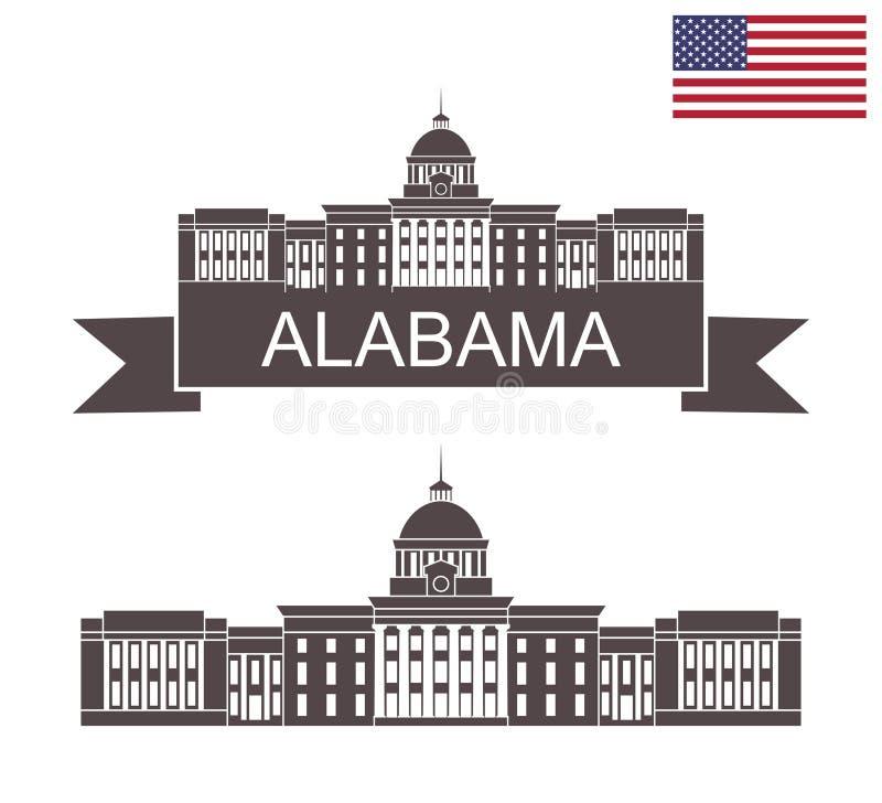 Staat van Alabama Het Capitool van de Staat van Alabama in Montgomery vector illustratie