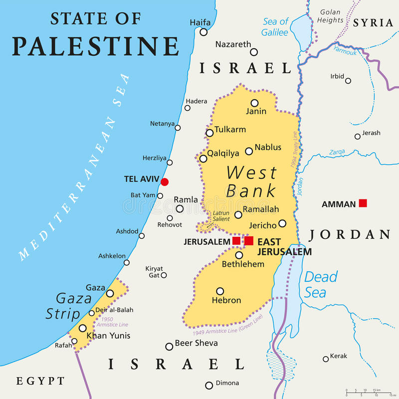 Staat van de Politieke Kaart van Palestina vector illustratie