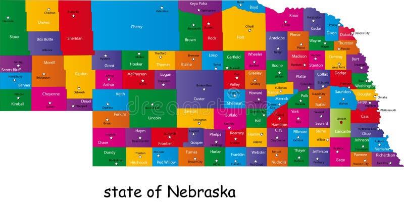 Staat van Nebraska stock illustratie