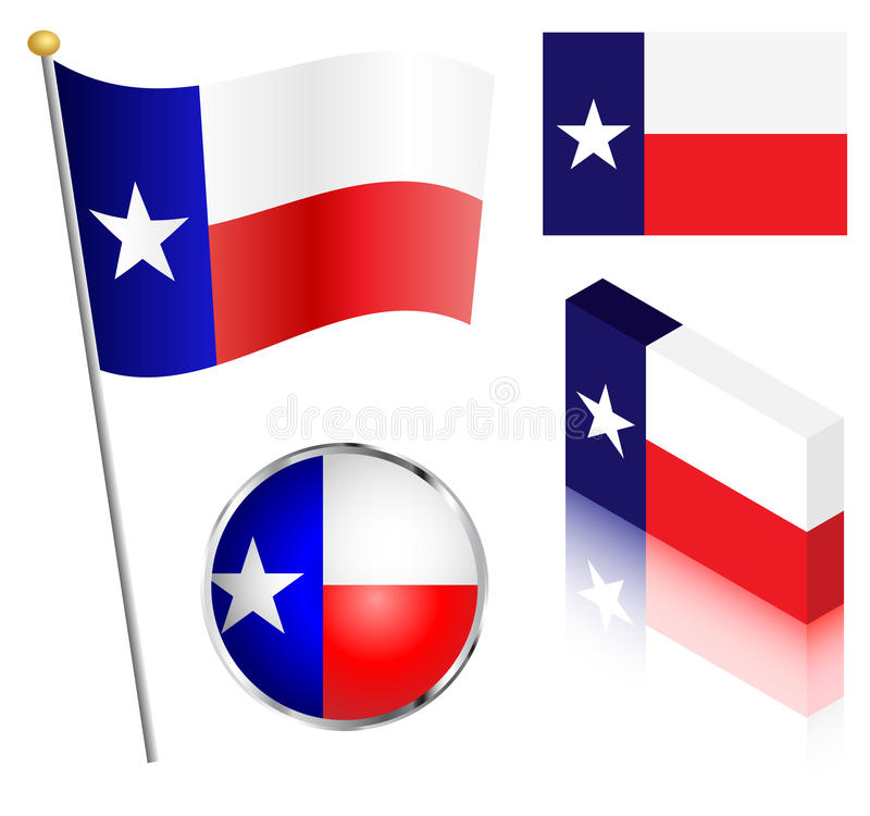Staat van Texas Flag Set vector illustratie