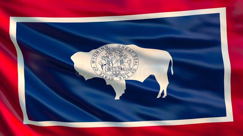 Staat Wyomingmarkierungsfahne Abbildung 3D stock abbildung