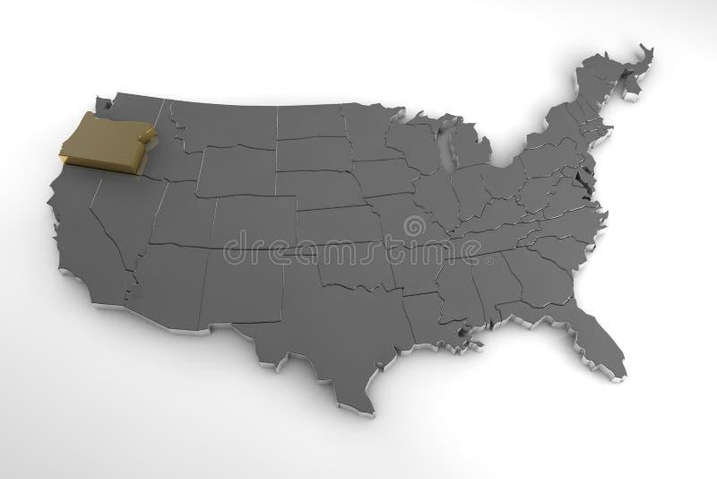 Staaten von Amerika, 3d metallische Karte, whith Oregon-Staat hervorgehoben stock abbildung