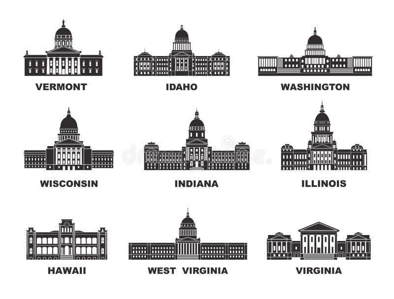 Staaten von Amerika Vektorsammlung von Stadt Vereinigter Staaten vektor abbildung