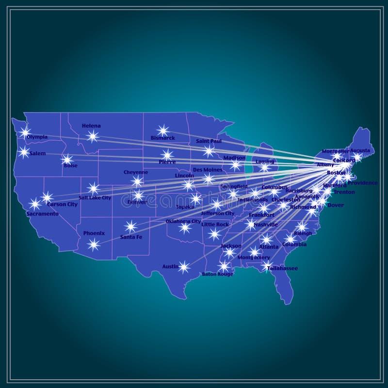 Staaten- von Amerikakarte Abbildung stock abbildung