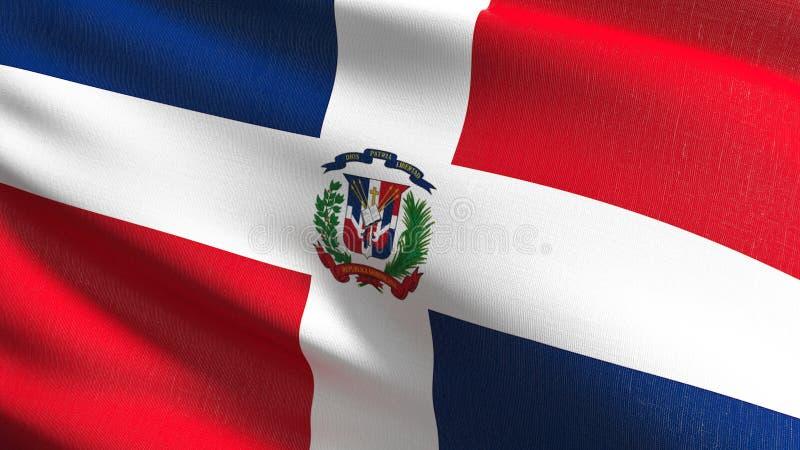Staatsflagge der Dominikanischen Republik durchbrennend im Wind lokalisiert Offizieller patriotischer abstrakter Entwurf Illustra stock abbildung