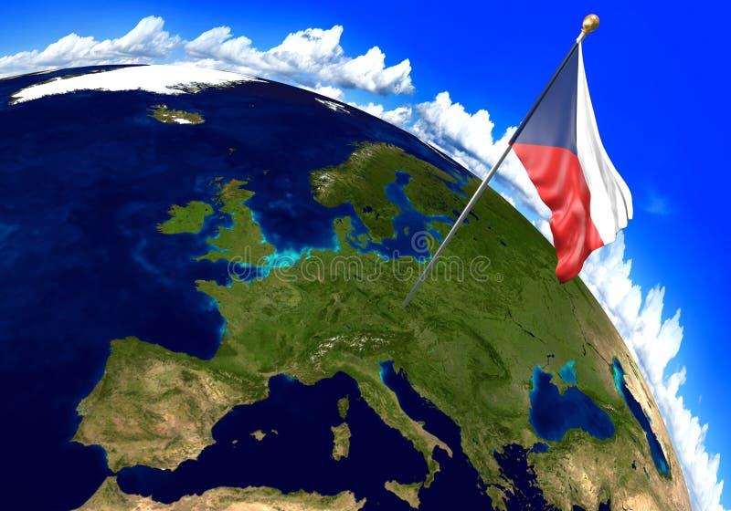 Staatsflagge der Tschechischen Republik, die den Landstandort auf Weltkarte markiert Wiedergabe 3d lizenzfreie abbildung