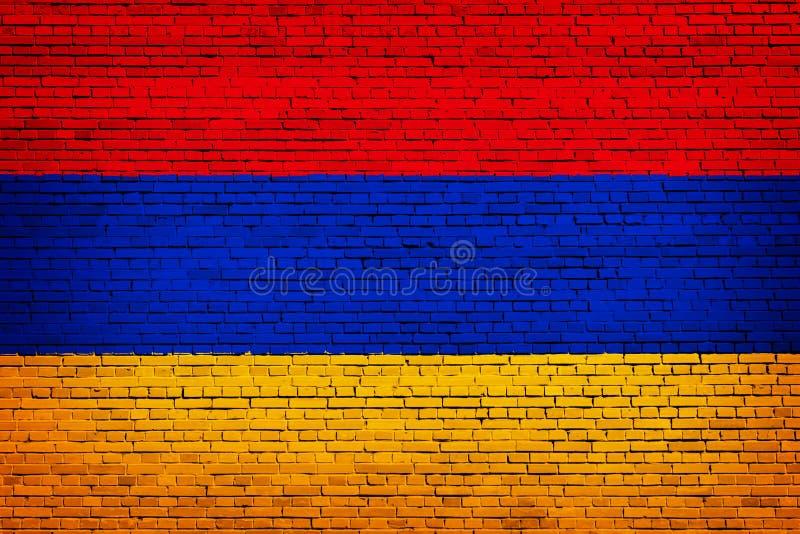 Staatsflagge von Armenien auf einem Ziegelstein stock abbildung