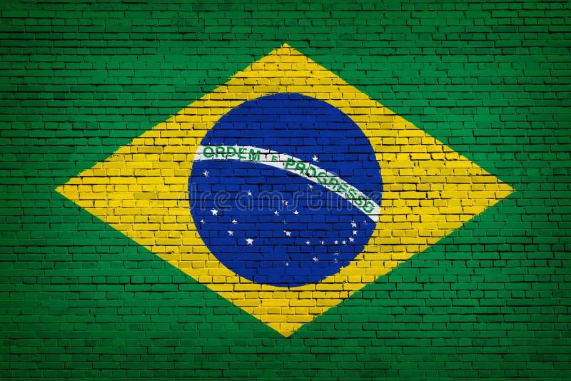 Staatsflagge von Brasilien auf einem Ziegelstein vektor abbildung