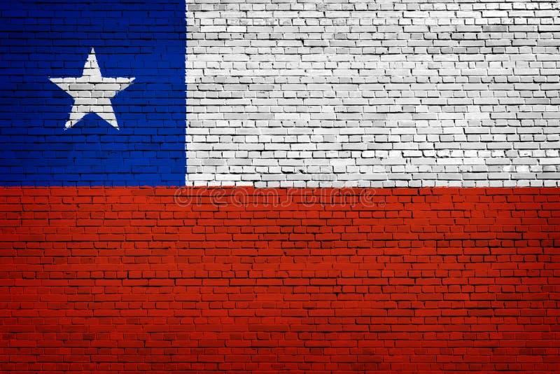 Staatsflagge von Chile auf einem Ziegelstein lizenzfreie abbildung