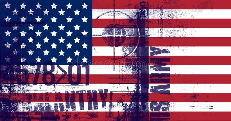 Staatsflagge von den Vereinigten Staaten von Amerika Gewehrbereichsymbol Text der AMERIKANISCHEN Armee lizenzfreie abbildung