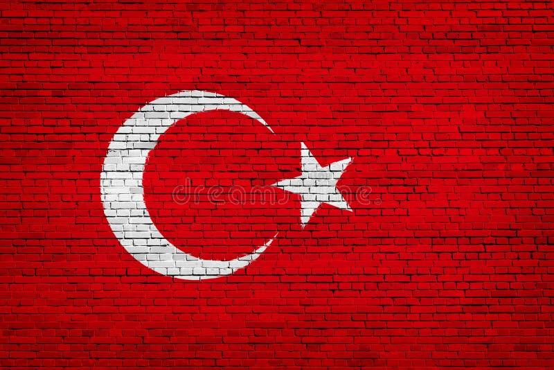 Staatsflagge von der Türkei auf einem Ziegelstein lizenzfreie abbildung