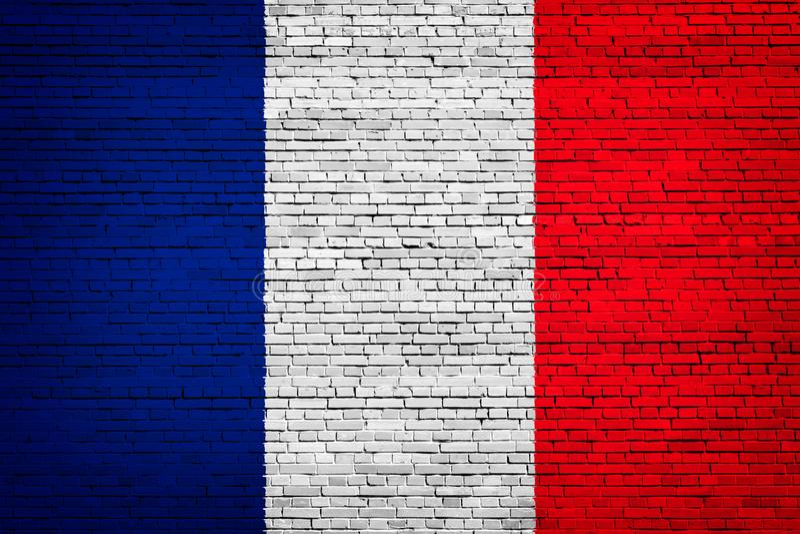 Staatsflagge von Frankreich auf einem Ziegelstein stock abbildung