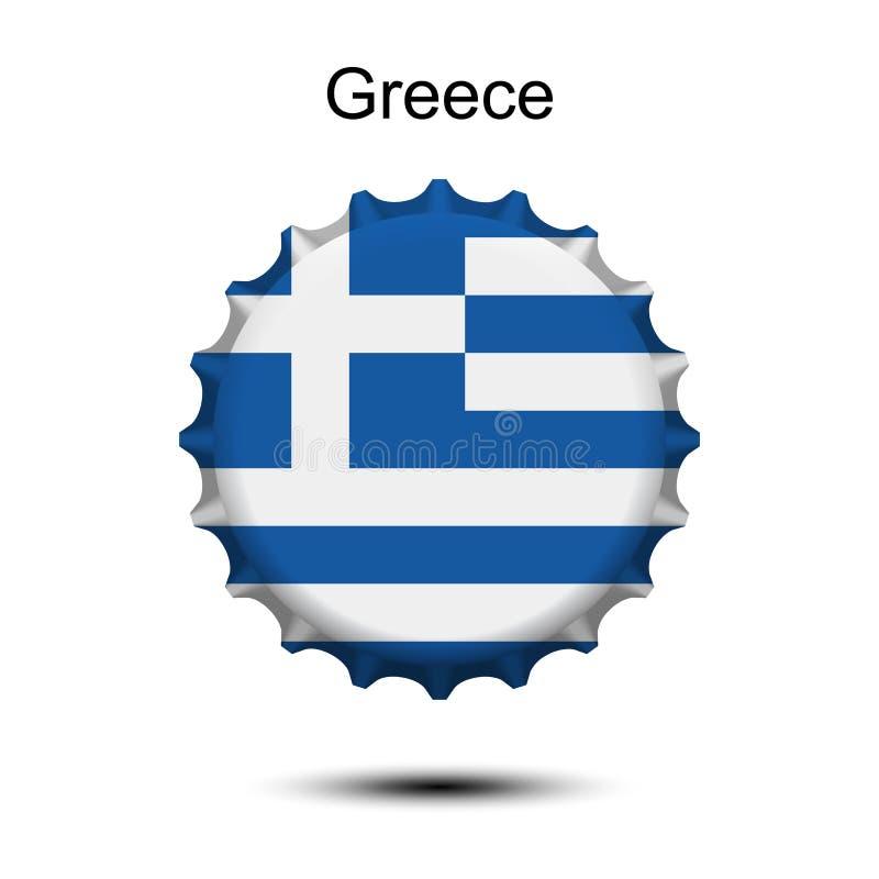 Staatsflagge von Griechenland auf einer Flaschenkapsel stock abbildung