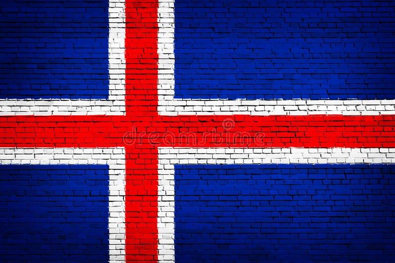 Staatsflagge von Island auf einem Ziegelstein stock abbildung