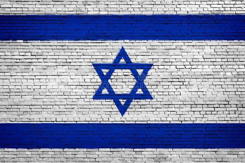 Staatsflagge von Israel auf einem Ziegelstein lizenzfreie abbildung