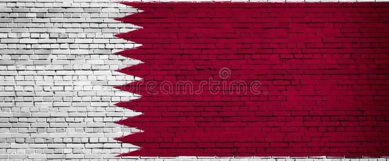 Staatsflagge von Katar auf einem Ziegelstein vektor abbildung