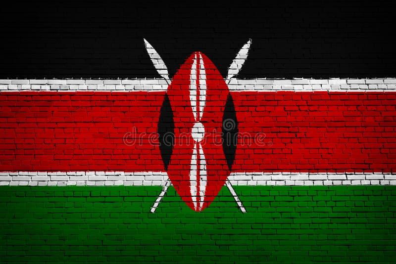 Staatsflagge von Kenia auf einem Ziegelstein stock abbildung