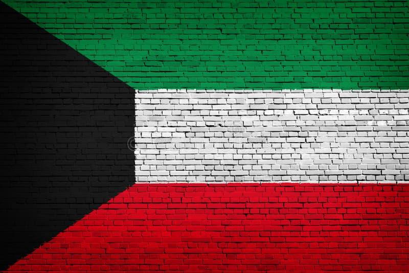 Staatsflagge von Kuwait auf einem Ziegelstein stock abbildung