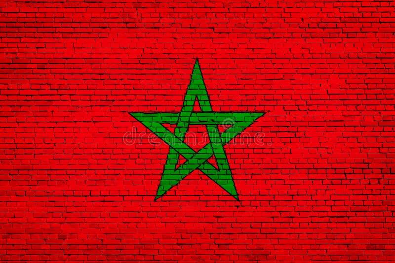 Staatsflagge von Marokko auf einem Ziegelstein lizenzfreie abbildung