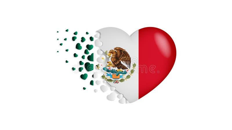 Staatsflagge von Mexiko in der Herzillustration Mit Liebe zu Mexiko-Land Die Staatsflagge von Mexiko kleine Herzen heraus fliegen vektor abbildung
