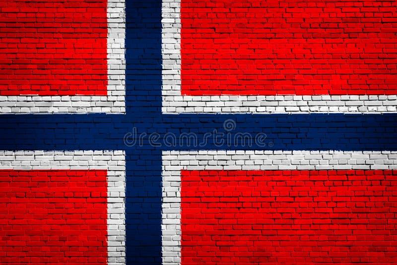 Staatsflagge von Norwegen auf einem Ziegelstein vektor abbildung