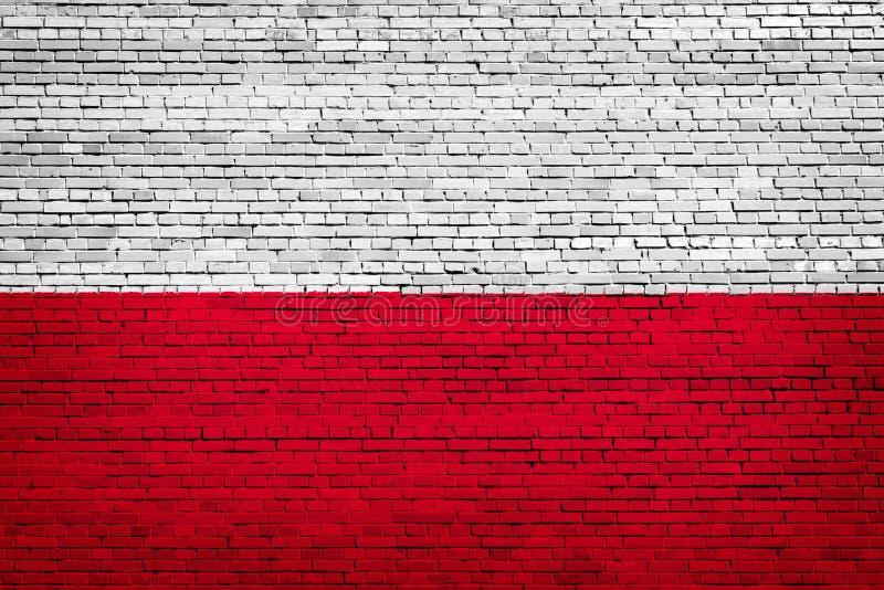 Staatsflagge von Polen auf einem Ziegelstein stock abbildung