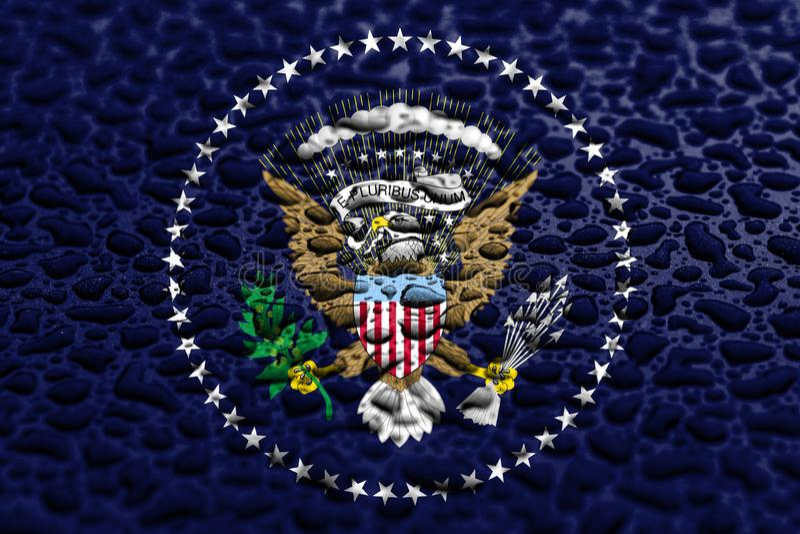 Staatsflagge von Pr?sidenten der Vereinigten Staaten gemacht von den Wassertropfen Hintergrundprognosenkonzept stockfotografie