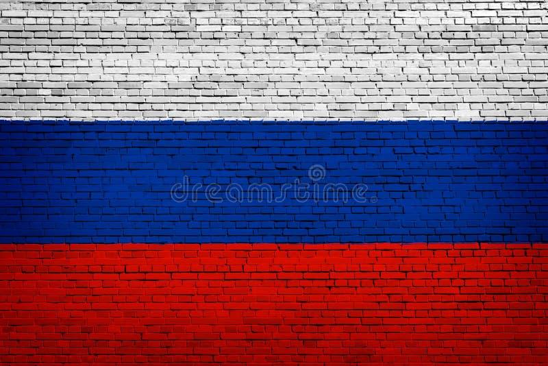 Staatsflagge von Russland auf einem Ziegelstein lizenzfreie abbildung