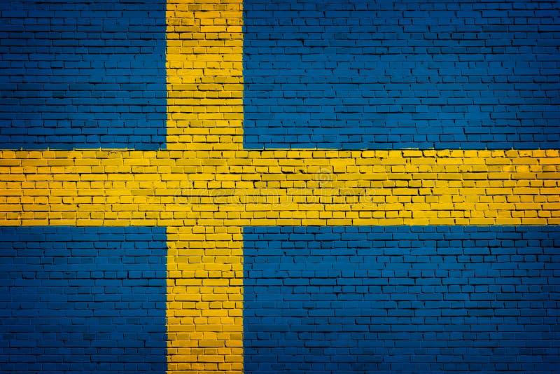 Staatsflagge von Schweden auf einem Ziegelstein vektor abbildung