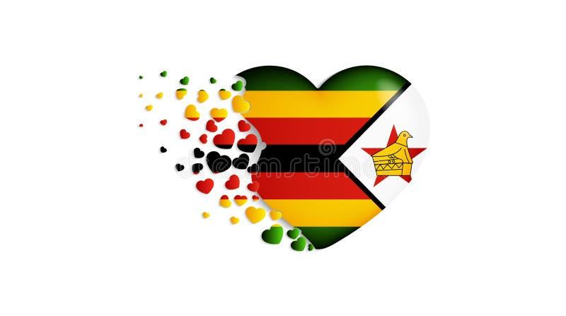 Staatsflagge von Simbabwe in der Herzillustration Mit Liebe zu Simbabwe-Land Die Staatsflagge von Simbabwe kleine Herzen heraus f lizenzfreie abbildung