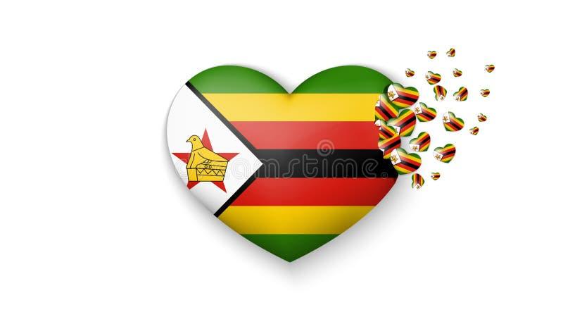 Staatsflagge von Simbabwe in der Herzillustration Mit Liebe zu Simbabwe-Land Die Staatsflagge von Simbabwe kleine Herzen heraus f vektor abbildung