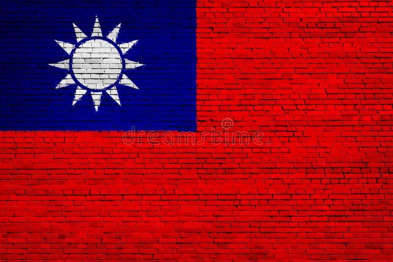 Staatsflagge von Taiwan auf einem Ziegelstein vektor abbildung
