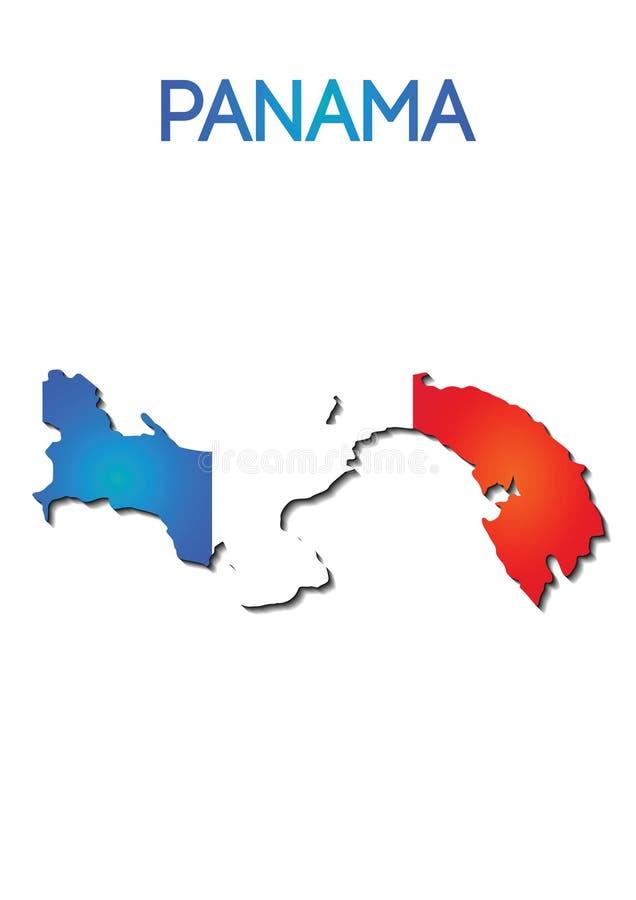 Staatsflaggefarbe in der Karte von Panama, Steigungsdesign vektor abbildung