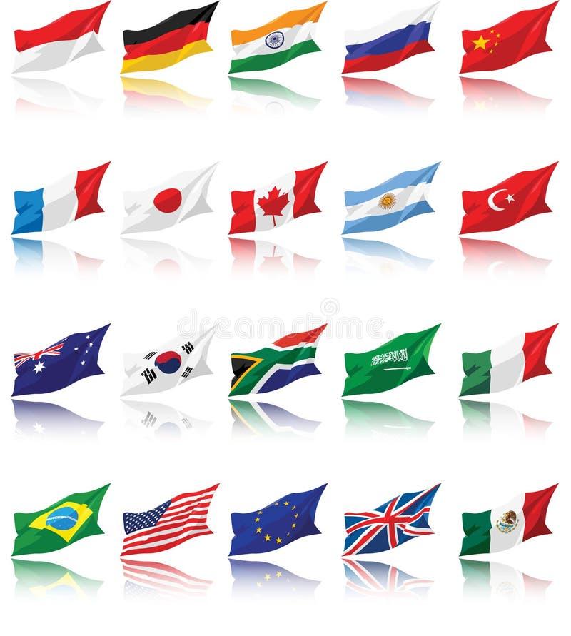 Staatsflaggen von G20 mit Schatten vektor abbildung