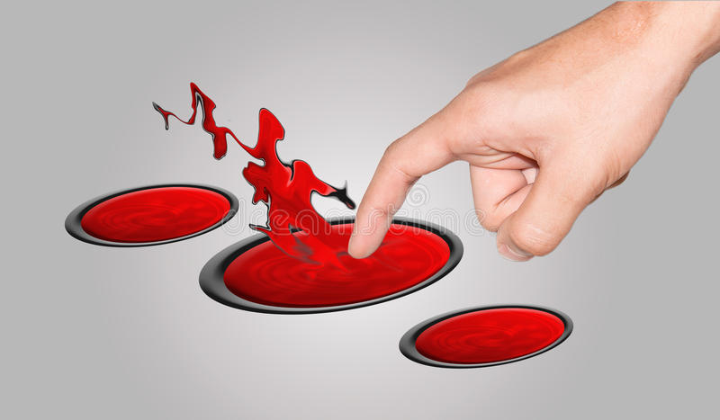 Stab fingers into. Fingers touch into the to the red circle royalty free stock photos