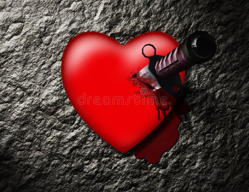 stabbed hjärta vektor illustrationer