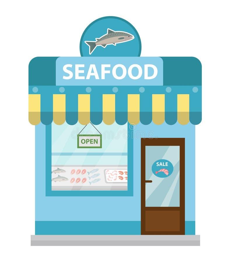 Stabile adibito a uffici dei frutti di mare, stile piano dell'icona di vettore della vetrina Mercato ittico isolato su fondo bian royalty illustrazione gratis