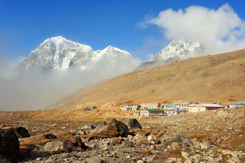 Stabilimento di Lobuche, Nepal orientale, Himalaya fotografia stock libera da diritti