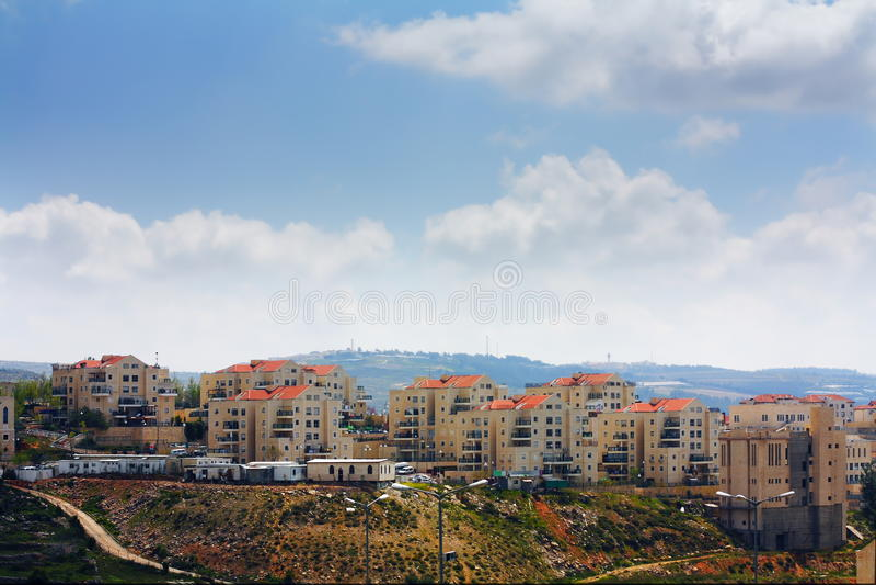 Stabilimento israeliano di Beitar Illit in Riva a Ovest fotografie stock