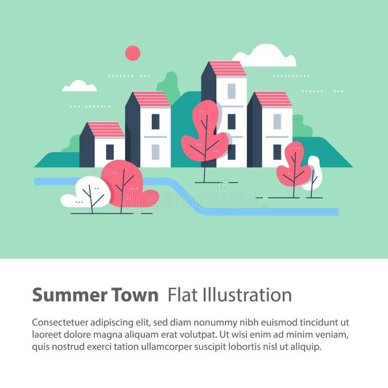 Stabilimento laterale del fiume, città accogliente, fila di case dal fiume con gli alberi, edificio residenziale, vicinanza verde illustrazione di stock