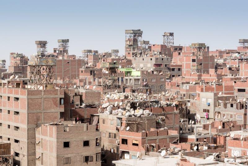 Stabilimento Manshiyat Naser Cairo Egypt di Zabbaleen dei tetti della città dell'immondizia fotografie stock libere da diritti